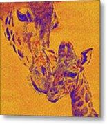Giraffe Love Metal Print by Jane Schnetlage