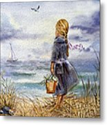 Girl And The Ocean Metal Print by Irina Sztukowski