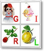 Girl Art Alphabet For Kids Room Metal Print by Irina Sztukowski