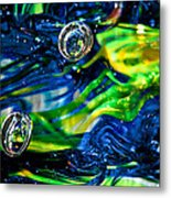 Glass Macro - Seahawks Blue And Green -13e4 Metal Print by David Patterson