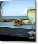 Glass Of Fresh Wine By Tropical Beach Metal Print by Sami Sarkis