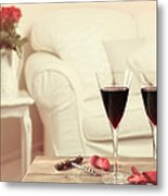 Glasses Of Red Wine Metal Print by Amanda And Christopher Elwell