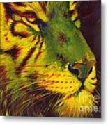 Glowing Tiger Metal Print by Summer Celeste
