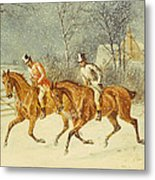 Going Out In A Snowstorm Metal Print by Henry Thomas Alken