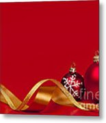 Gold And Red Christmas Decorations Metal Print by Elena Elisseeva