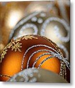 Gold Christmas Ornaments Metal Print by Elena Elisseeva