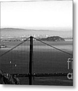 Golden Gate And Bay Bridges Metal Print by Linda Woods