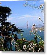 Golden Gate Bridge And Wildflowers Metal Print by Carol Groenen