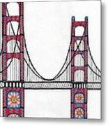 Golden Gate Bridge By Flower Child Metal Print by Michael Friend