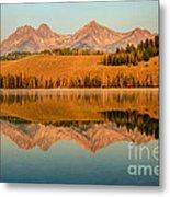 Golden Mountains  Reflection Metal Print by Robert Bales