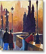 Golden Prague Charles Bridge Metal Print by Yuriy Shevchuk