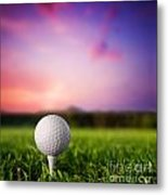 Golf Ball On Tee At Sunset Metal Print by Michal Bednarek