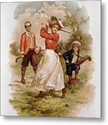 Golfing Metal Print by Ellen Hattie Clapsaddle