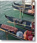 Gondolas Waiting For Tourists In Venice Metal Print by Kiril Stanchev