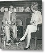 Governor George Wallace Meets Mrs Margeret Thatcher At The Metal Print by Retro Images Archive