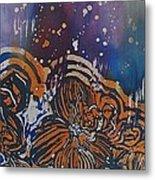 Graceful Wild Orchids In Blue/orange Metal Print by Beena Samuel