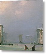 Grand Canal With Snow And Ice Metal Print by Ippolito Caffi