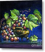 Grapes In A Footed Bowl Metal Print by Jane Bucci
