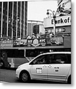 Gray Line New York Sightseeing Bus And Yellow Mpv Taxi Cab On 7th Avenue New York City Metal Print by Joe Fox
