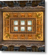 Great Hall Ceiling Library Of Congress Metal Print by Steve Gadomski