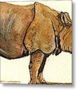 Greated One Horned Rhinoceros Metal Print by Juan  Bosco