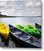 Green And Yellow Kayaks Metal Print by Carlos Caetano