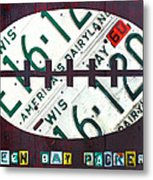 Green Bay Packers Football License Plate Art Metal Print by Design Turnpike