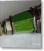 Green Lighthouse Spark Plug Metal Print by Wilma  Birdwell
