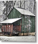 Green Tobacco Barn Metal Print by Benanne Stiens