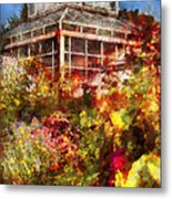 Greenhouse - The Greenhouse And The Garden Metal Print by Mike Savad