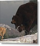 Grizzly Bear Chasing Rabbit Metal Print by Daniel Eskridge