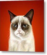 Grumpy Cat Metal Print by Olga Shvartsur