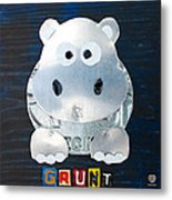 Grunt The Hippo License Plate Art Metal Print by Design Turnpike