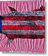 Gyotaku - American Spanish Mackerel - Flag Metal Print by Jeffrey Canha
