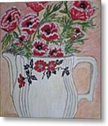 Hall China Red Poppy And Poppies Metal Print by Kathy Marrs Chandler
