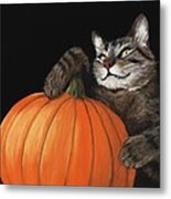 Halloween Cat Metal Print by Anastasiya Malakhova