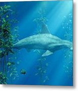 Hammerhead Among The Seaweed Metal Print by Daniel Eskridge