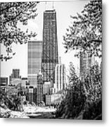 Hancock Building Through Trees Black And White Photo Metal Print by Paul Velgos