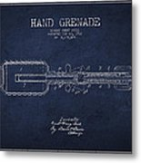 Hand Grenade Patent Drawing From 1916 Metal Print by Aged Pixel