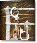 Handcuffs On Bed Metal Print by Amanda Elwell