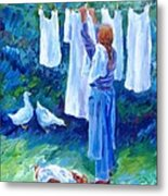 Hanging The Whites  Metal Print by Trudi Doyle