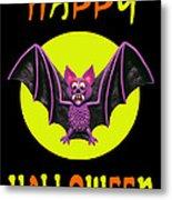 Happy Halloween Bat Metal Print by Amy Vangsgard
