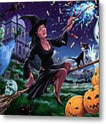 Happy Halloween Witch With Graveyard Friends Metal Print by Martin Davey