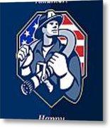 Happy Patriots Day God Bless America Retro Metal Print by Aloysius Patrimonio
