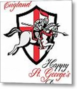 Happy St George Day A Day For England Retro Poster Metal Print by Aloysius Patrimonio