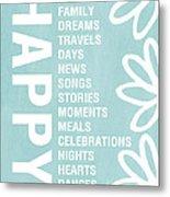 Happy Things Blue Metal Print by Linda Woods