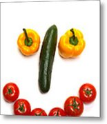 Happy Veggie Face Metal Print by Olivier Le Queinec