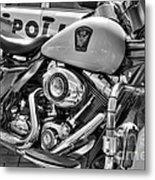 Harleys In Cincinnati 2 Bw Metal Print by Mel Steinhauer