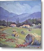 Haybales And Poppies Of Provence Metal Print by Linda  Wissler