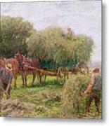 Haymaking Metal Print by Arthur Hopkins